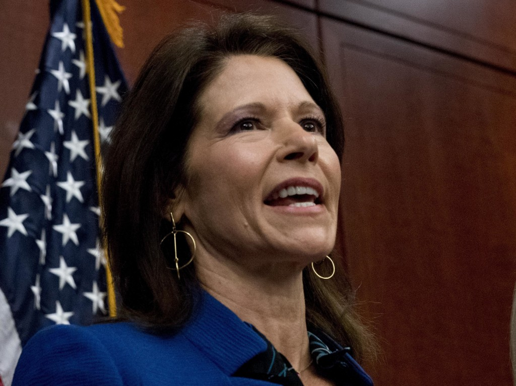 FILE - This Dec. 6, 2017 file photo shows Rep. Cheri Bustos, D-Ill., during a news conference on Capitol Hill in Washington.  Voters will decide wheth...