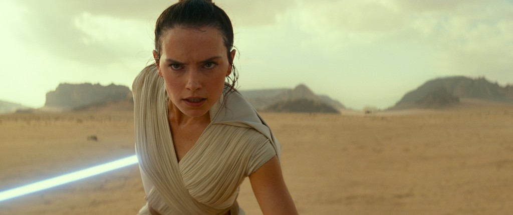 "This image released by Disney/Lucasfilm shows Daisy Ridley as Rey in a scene from ""Star Wars: The Rise of Skywalker."" (Disney/Lucasfilm Ltd.)"