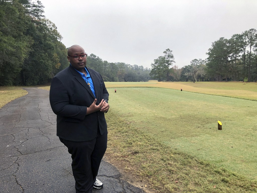 Delaitre Hollinger, the immediate past president of the Tallahassee branch of the NAACP,  visits the Capital City Country Club in Tallahassee, Fla., o...