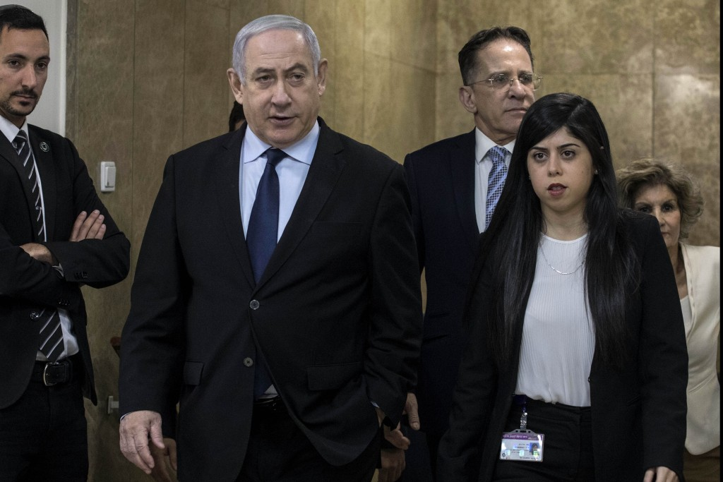 Israeli Prime Minister Benjamin Netanyahu arrives for the weekly cabinet meeting at the Prime Minister's office in Jerusalem, Sunday, Dec. 22, 2019. (...