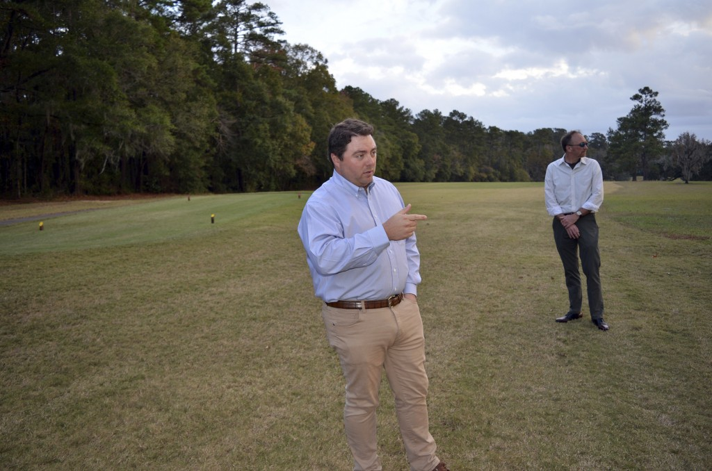 Jay Revell, left, who serves as the historian for the Capital City Country Club, visits the 7th hole of the country club on Dec. 16, 2019, with Jeffre...