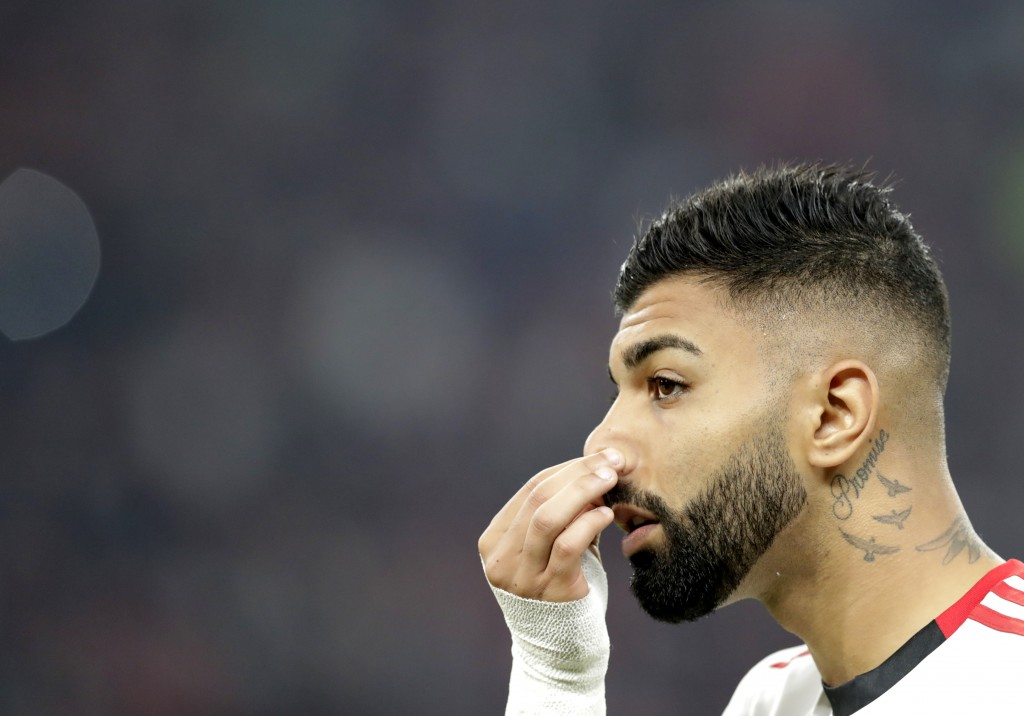 Flamengo's Gabriel Barbosa prior the start of the Club World Cup final soccer match between Liverpool and Flamengo at Khalifa International Stadium in...