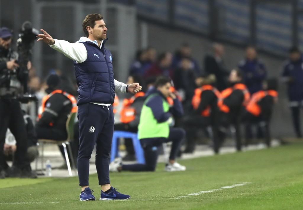 Marseille's head coach Andre Villas-Boas gives instructions from the side line during the French League One soccer match between Marseille and Nimes a...