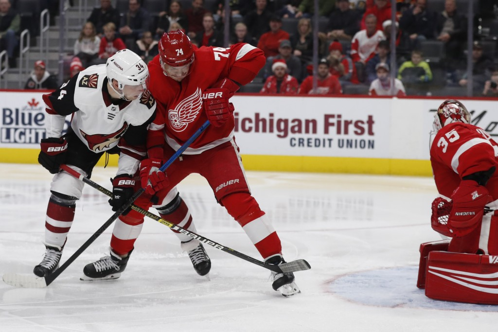 Arizona Coyotes center Carl Soderberg (34), checked by Detroit Red Wings defenseman Madison Bowey (74), watches his shot get past goaltender Jimmy How...