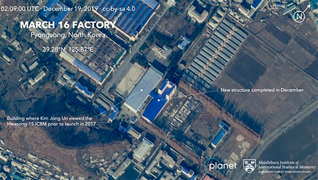 This Dec. 19, 2019, satellite image from Planet Lab Inc., that has been analyzed by experts at the Middlebury Institute of International Studies, show...
