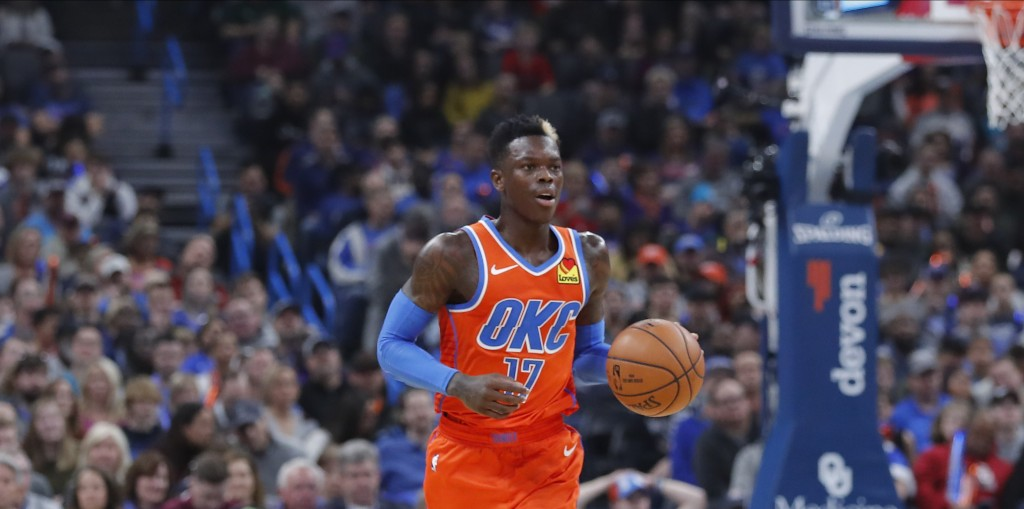 Oklahoma City Thunder guard Dennis Schroder (17) dribbles downcourt against the Los Angeles Clippers during the second quarter of an NBA basketball ga...
