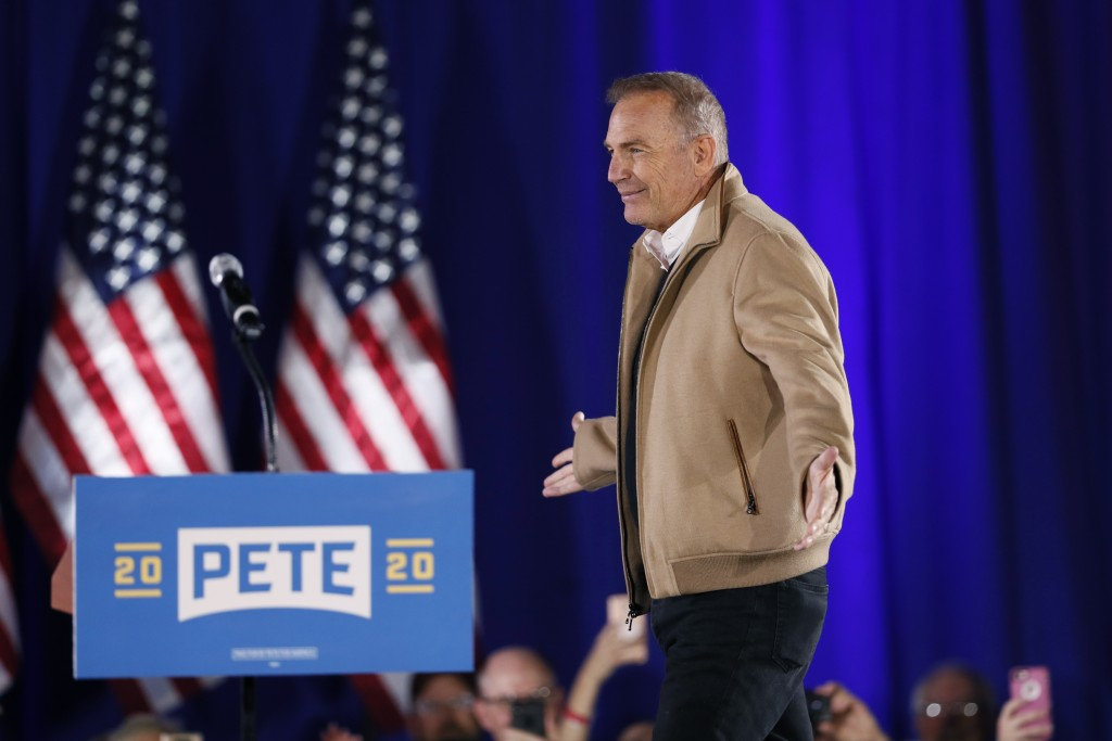 Actor Kevin Costner arrives to speak at a campaign rally for Democratic presidential candidate South Bend, Ind., Mayor Pete Buttigieg, Sunday, Dec. 22...