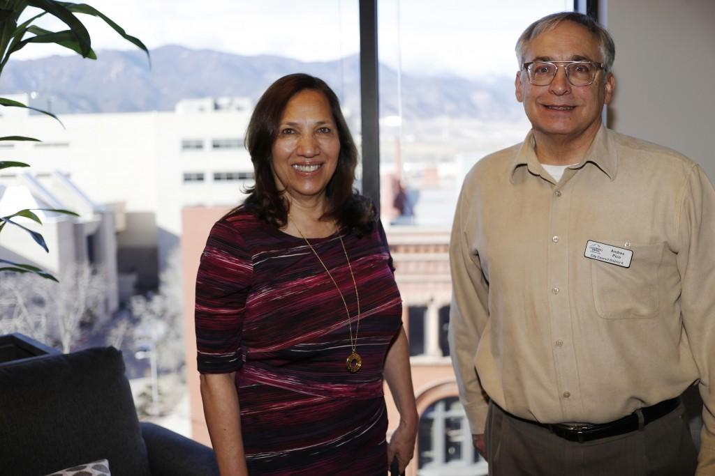 In this Dec. 13, 2019, photograph, Colorado Springs, Colo., council members Yolanda Avila and Andres Pico are shown in a city office in Colorado Sprin...