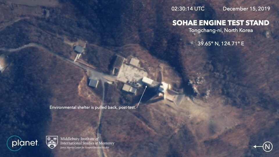 This Dec. 15, 2019, satellite image from Planet Lab Inc., that has been analyzed by experts at the Middlebury Institute of International Studies, show...
