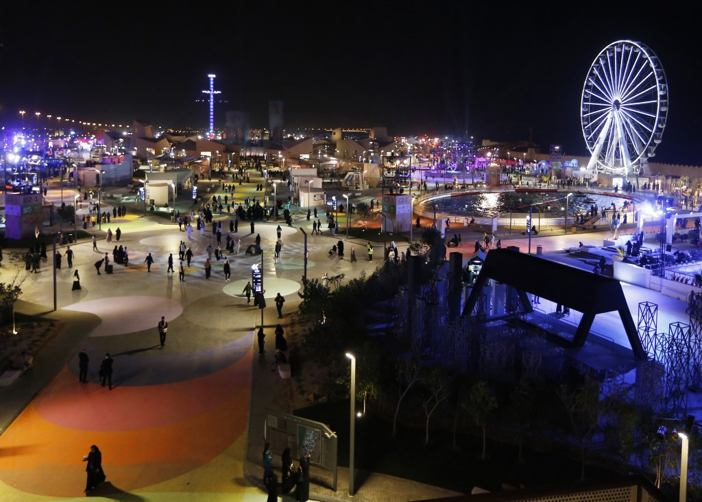 In this Dec. 13, 2019 photo, people spend the evening at the Diriyah Oasis amusement park in Diriyah on the outskirts of Riyadh, Saudi Arabia. Hollywo...
