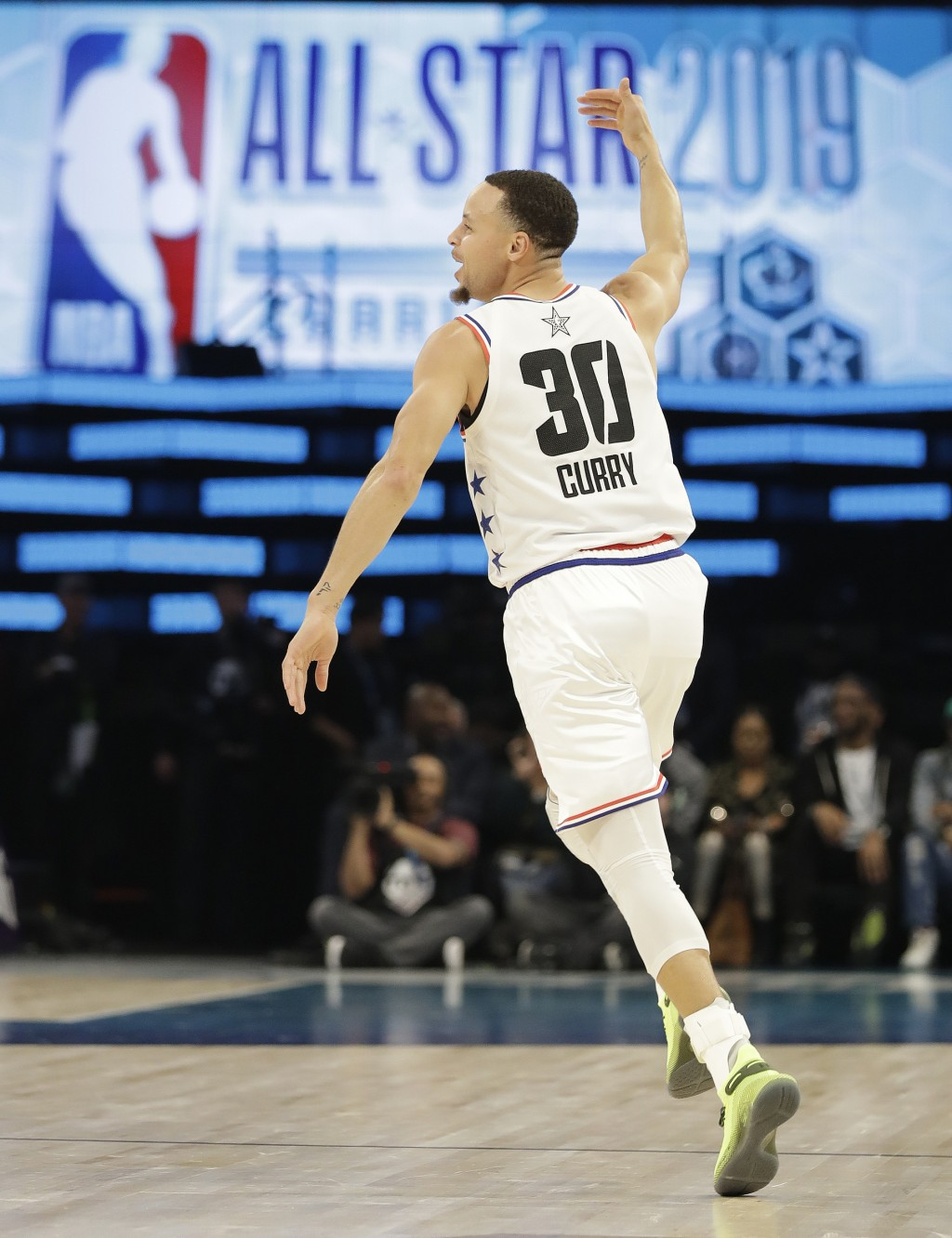 FILE- In this Feb. 17, 2019, file photo, Team Giannis' Stephen Curry, of the Golden State Warriors, celebrates a basket against Team LeBron during the...