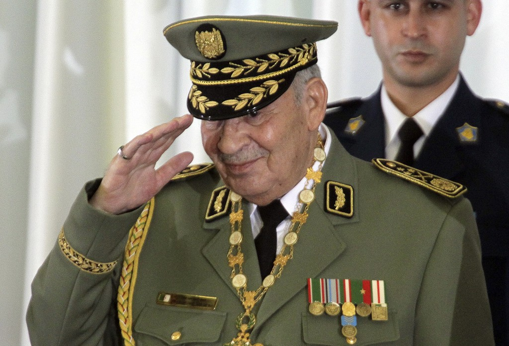 FILE - In this photo taken Thursday, Dec. 19, 2019, Algerian military chief Gen. Ahmed Gaid Salah attends president Abdelmajid Tebboune's inauguration...