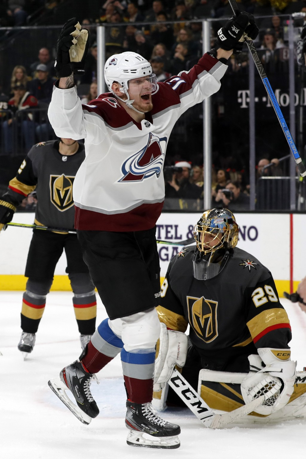Colorado Avalanche right wing Valeri Nichushkin (13) celebrates after scoring past Vegas Golden Knights goaltender Marc-Andre Fleury (29) during the t...