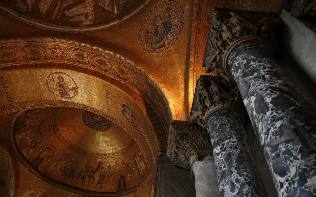 An inside view of the St. Mark's Basilica in Venice, Italy, Tuesday, Dec. 17, 2019.  Still invisible to the naked eye and the casual visitors, recent ...