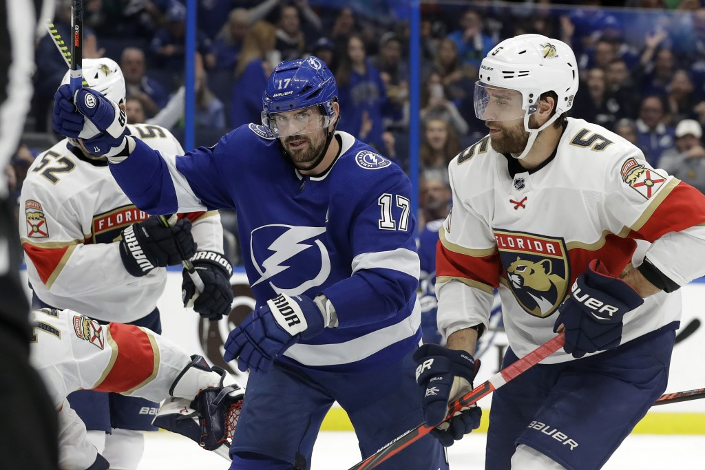 Tampa Bay Lightning left wing Alex Killorn (17) celebrates his goal against the Florida Panthers during the second period of an NHL hockey game Monday...