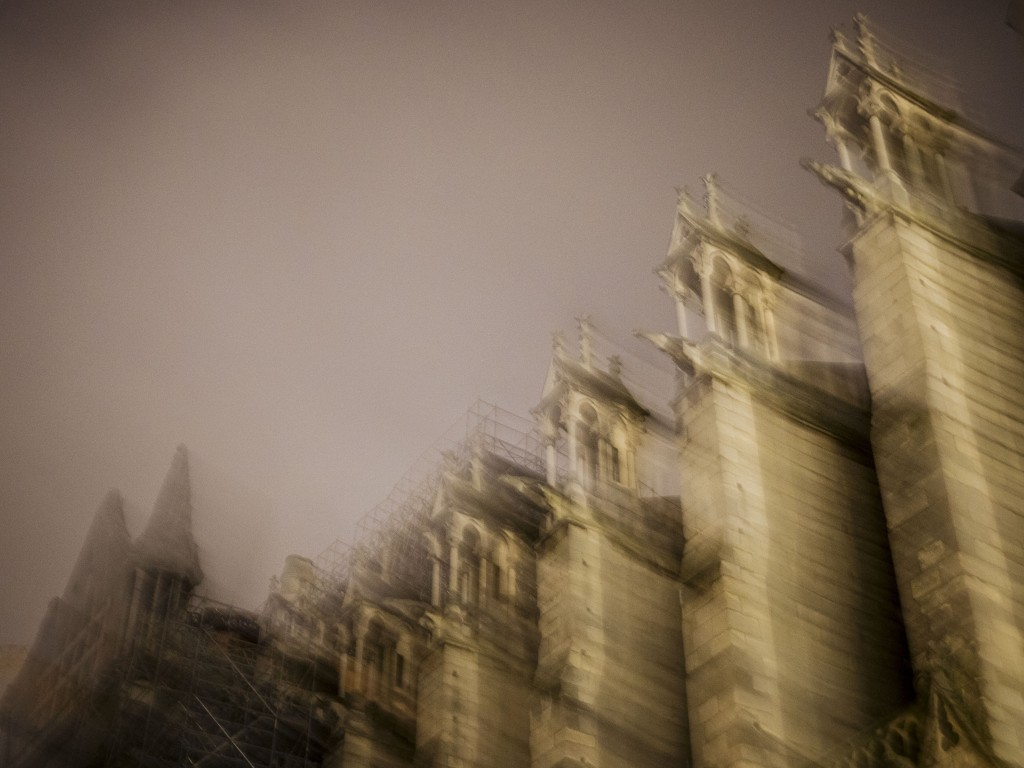 Notre Dame cathedral is pictured with a slow shutter speed exposure in Paris, Monday, Dec. 23, 2019. (AP Photo/Kamil Zihnioglu)