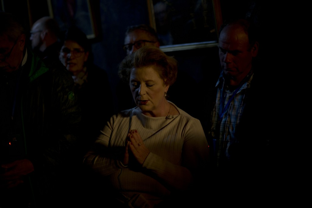 Christian pilgrims pray inside the Grotto of the Church of Nativity, traditionally believed by Christians to be the birthplace of Jesus Christ, in the...