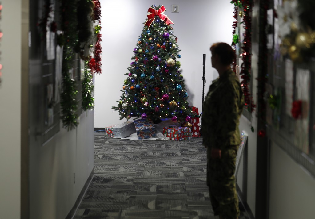 A decorated tree stands in the NORAD Tracks Santa Center at Peterson Air Force Base, Monday, Dec. 23, 2019, in Colorado Springs, Colo. More than 1,500...