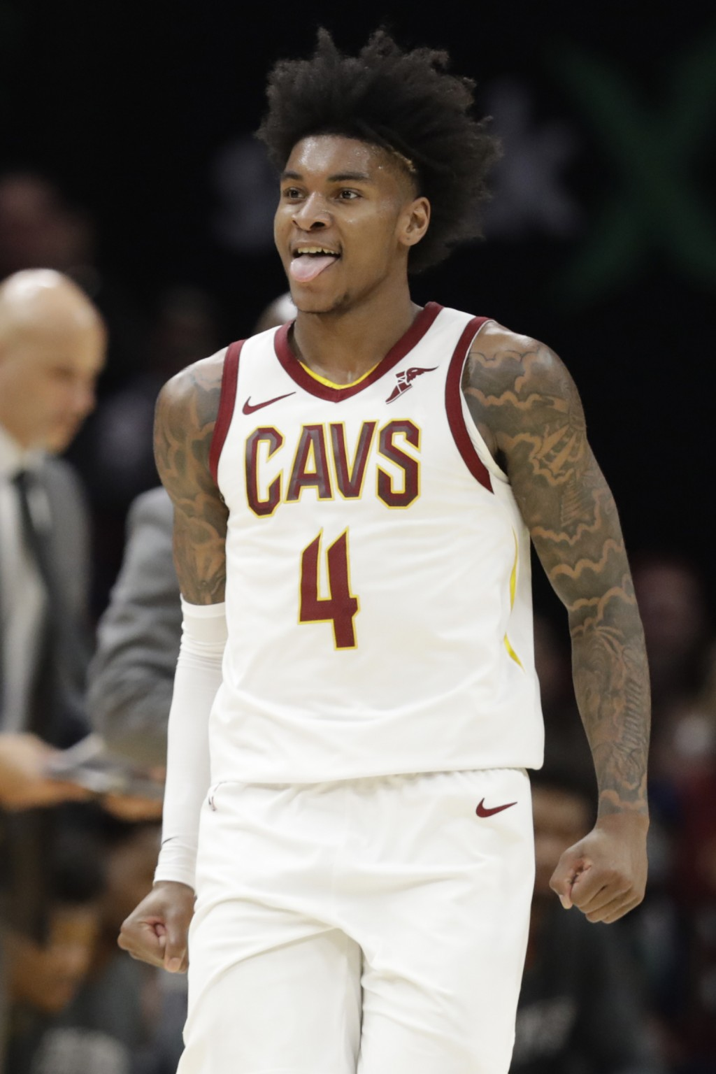 Cleveland Cavaliers' Kevin Porter Jr. reacts after scoring against the Atlanta Hawks during the second half of an NBA basketball game Monday, Dec. 23,...