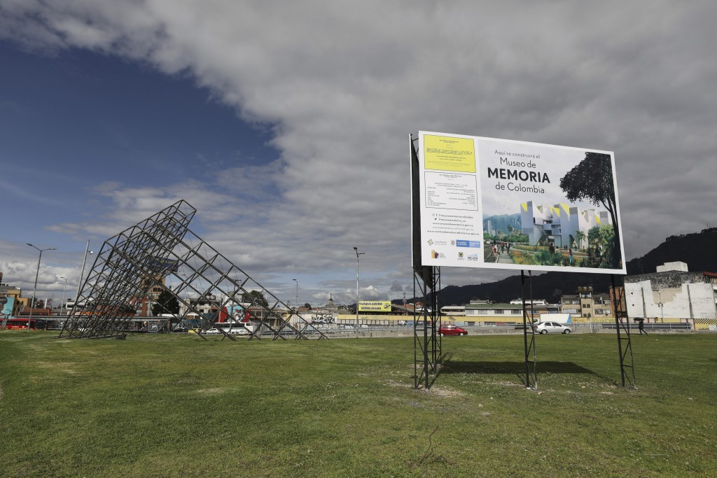 A sign announces the spot where Colombia's government plans to build a museum paying homage to the many victims of the country's long civil conflict i...