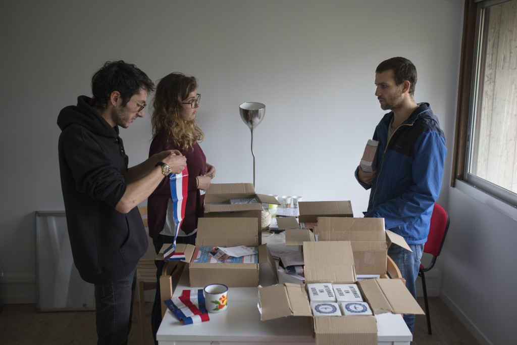 In this photo taken on Dec.16, 2019 members of the Autonomous Union for Interns of the Hospitals of Marseille, southern France, prepare materials in t...