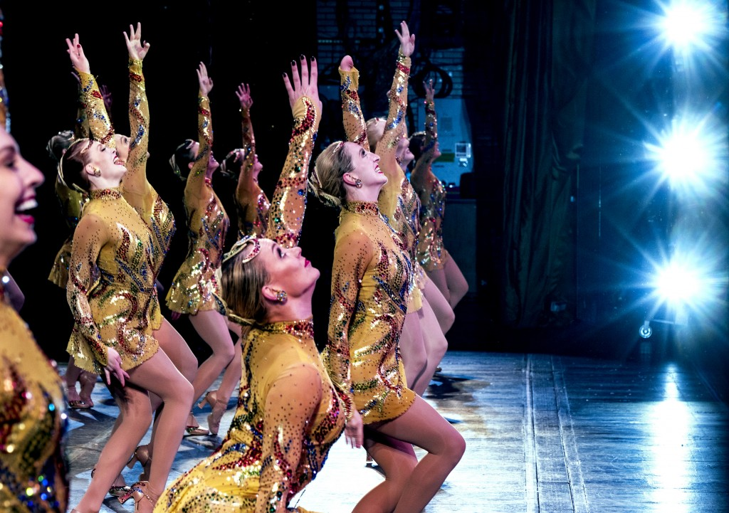 In this Monday, Nov. 25, 2019 photo, Rockette Sydney Mesher, front center, dances during a performance of the Christmas Spectacular at Radio City Musi...