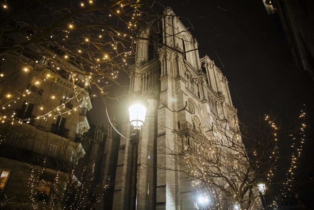 Notre Dame cathedral is pictured in Paris, Monday, Dec. 23, 2019. (AP Photo/Kamil Zihnioglu)