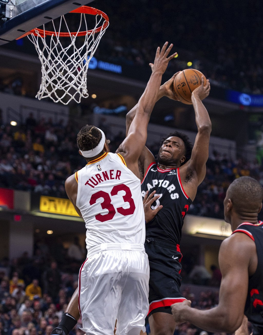 Indiana Pacers center Myles Turner (33) blocks the shot of Toronto Raptors forward OG Anunoby (3) during an NBA basketball game, Monday, Dec. 23, 2019...