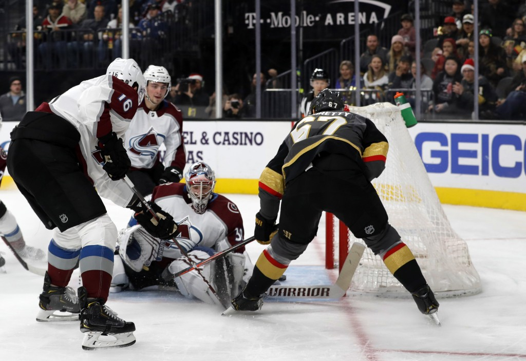 Vegas Golden Knights left wing Max Pacioretty (67) scores past Colorado Avalanche goaltender Pavel Francouz (39) during the second period of an NHL ho...