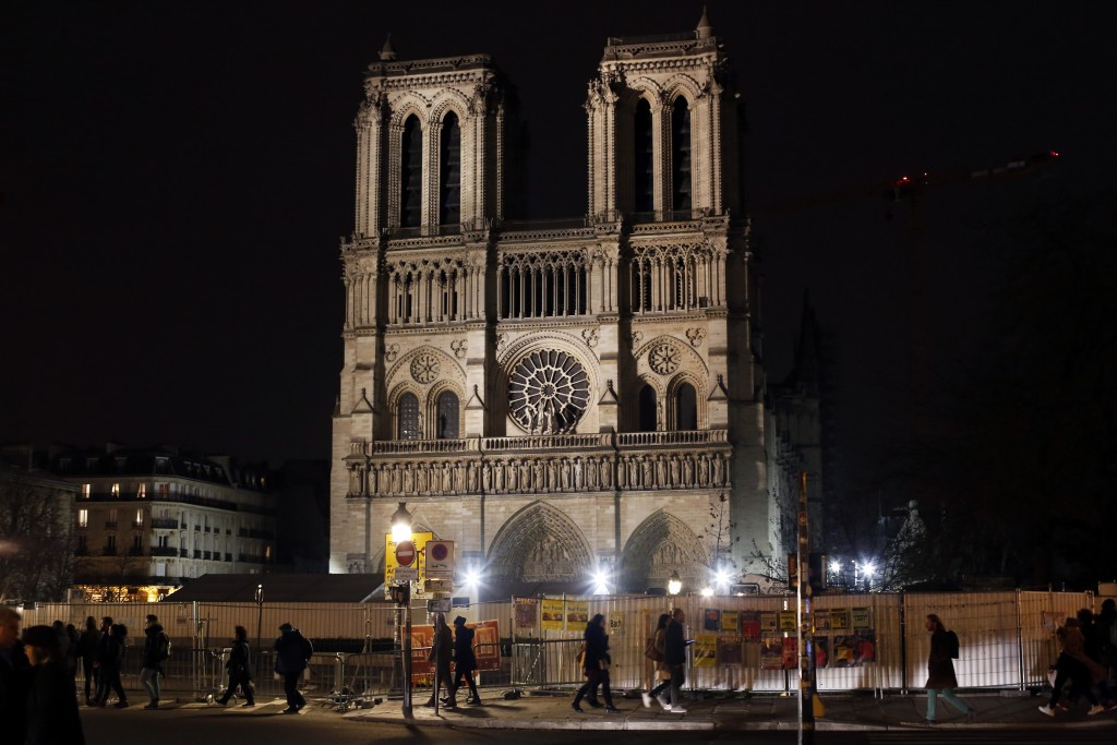 Notre Dame cathedral is pictured in Paris, Tuesday, Dec. 24, 2019. Notre Dame Cathedral is unable to host Christmas services for the first time since ...
