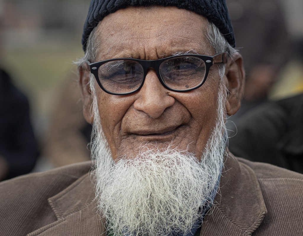 In this Monday, Dec. 23, 2019, photo, Sayad Jaherul Islam, 78, participates in a protest against Citizenship Amendment Act (CAA) in Gauhati, India, Mo...