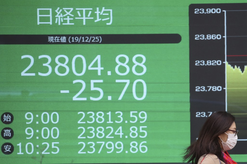 An woman walka by an electronic stock board of a securities firm in Tokyo, Wednesday, Dec. 25, 2019. Chinese and Japanese stocks declined Wednesday wh...