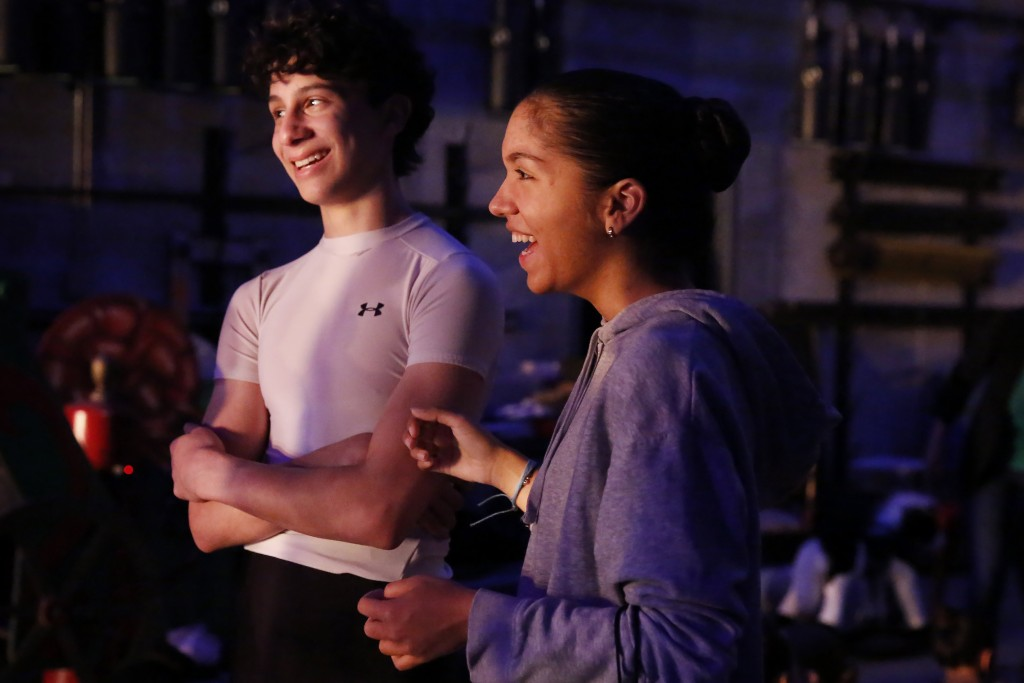 Paola Nava, right, 17, laughs backstage during a rehearsal of Vladimir Issaev's rendition of The Nutcracker ballet on Friday, Dec. 13, 2019, in Fort L...