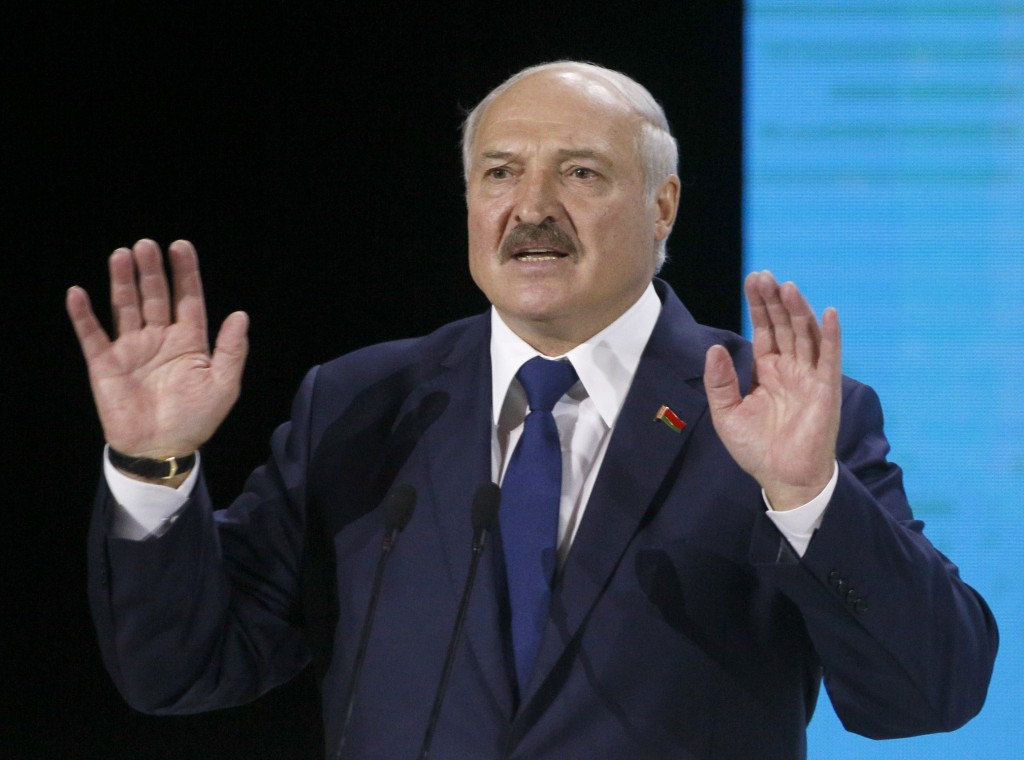 FILE In this file photo taken on Friday, Oct. 4, 2019, Belarusian President Alexander Lukashenko speaks during Ukraine Belarus forum in Zhytomyr, Ukra...