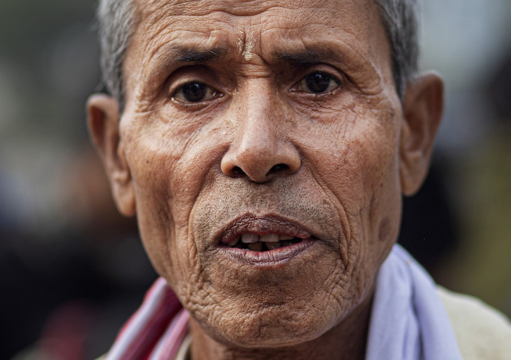 In this Monday, Dec. 23, 2019, photo, Ananta Ram Hazarika, 75, participates in a protest against the Citizenship Amendment Act (CAA) in Gauhati, India...