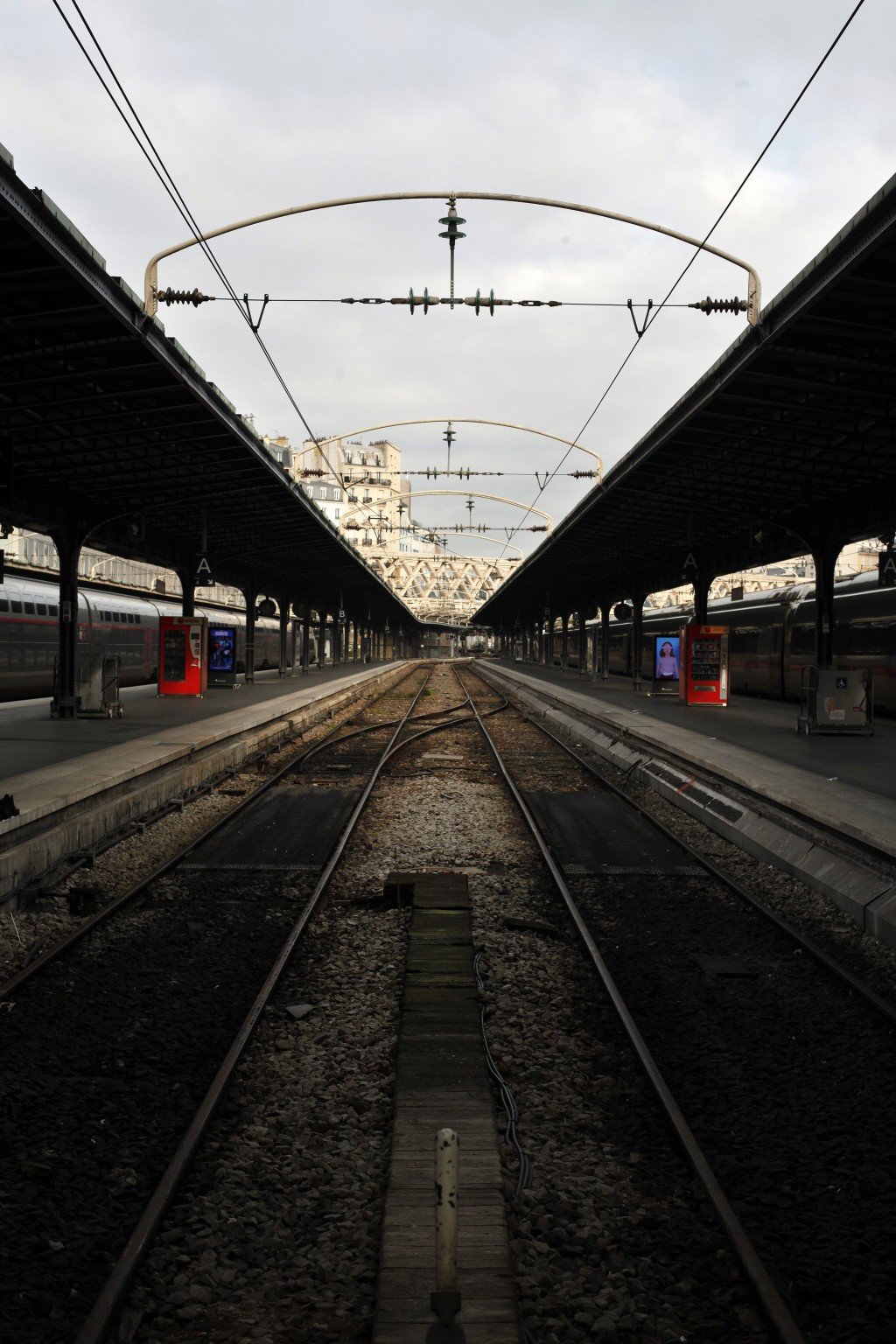 An empty railway platform at the Gare de l'Est railway station, in Paris, Thursday, Dec. 26, 2019. France's punishing transportation troubles may ease...