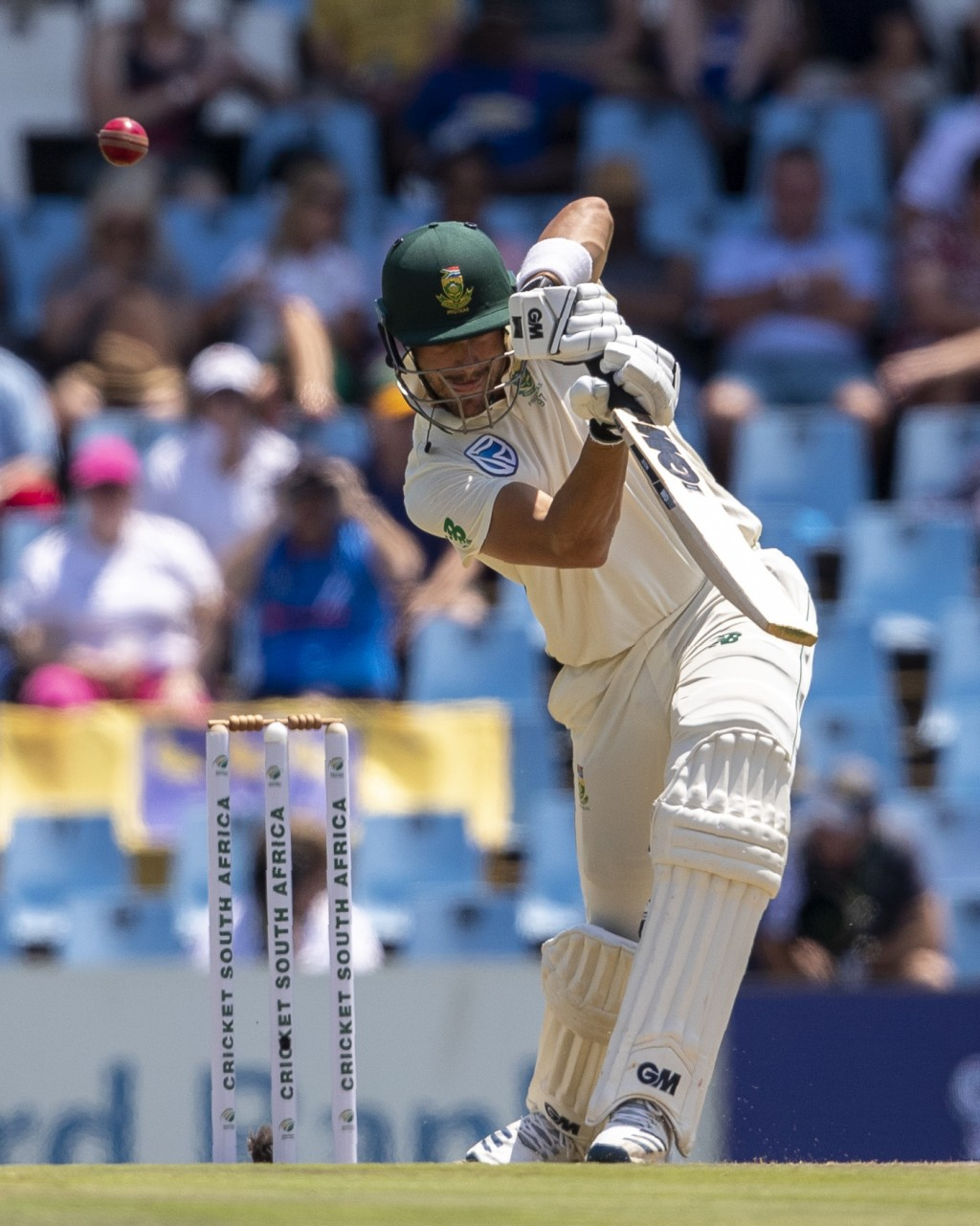 South Africa's batsman Aiden Markram bats on day one of the first cricket test match between South Africa and England at Centurion Park, Pretoria, Sou...
