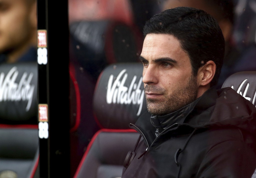 Arsenal manager Mikel Arteta looks on during their English Premier League soccer match against AFC Bournemouth at the Vitality Stadium, Bournemouth, E...