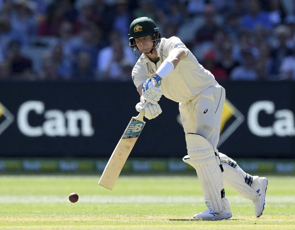 Australia's Steven Smith bats against New Zealand during play in their cricket test match in Melbourne, Australia, Thursday, Dec. 26, 2019. (AP Photo/...