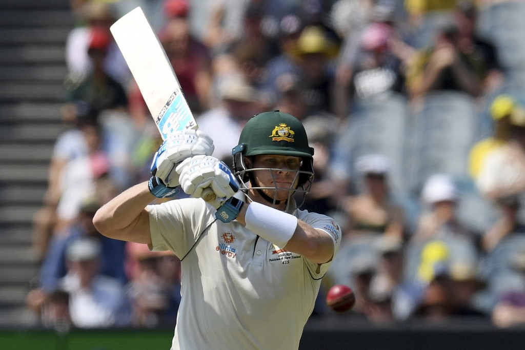 Australia's Steven Smith bats against New Zealand during play in their cricket test match in Melbourne, Australia, Friday, Dec. 27, 2019. (AP Photo/An...