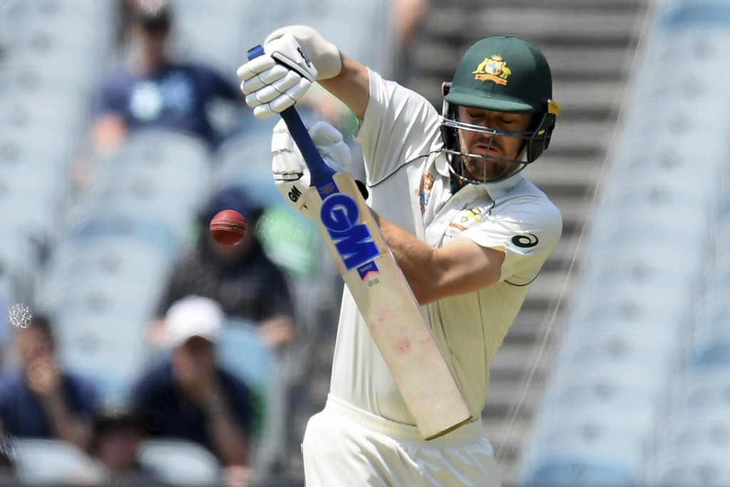 Australia's Travis Head bats against New Zealand during play in their cricket test match in Melbourne, Australia, Friday, Dec. 27, 2019. (AP Photo/And...