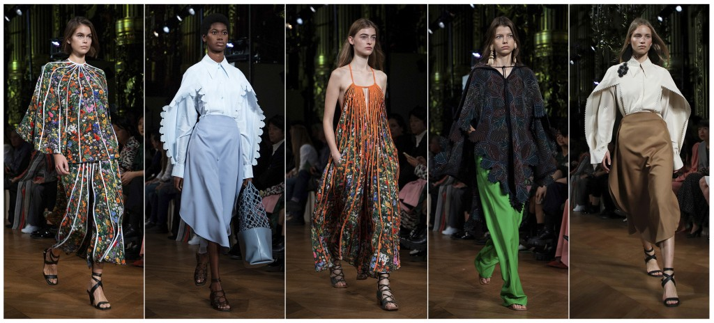 This combination of photos show models wearing creations from the Stella McCartney Ready To Wear Spring-Summer 2020 collection during Paris Fashion We...
