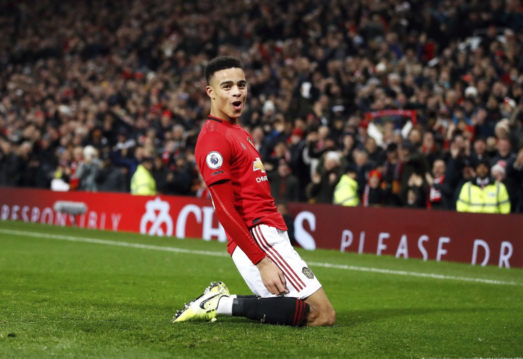 Manchester United's Mason Greenwood celebrates scoring his side's second goal of the game during their English Premier League soccer match against New...