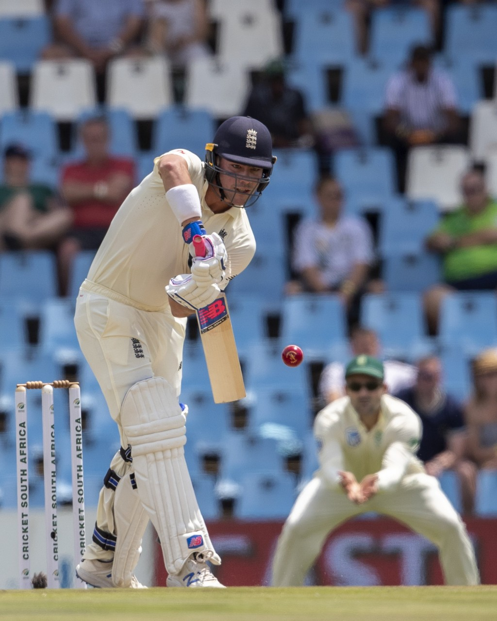 England's batsman Rory Burns bats on day two of the first cricket test match between South Africa and England at Centurion Park, Pretoria, South Afric...