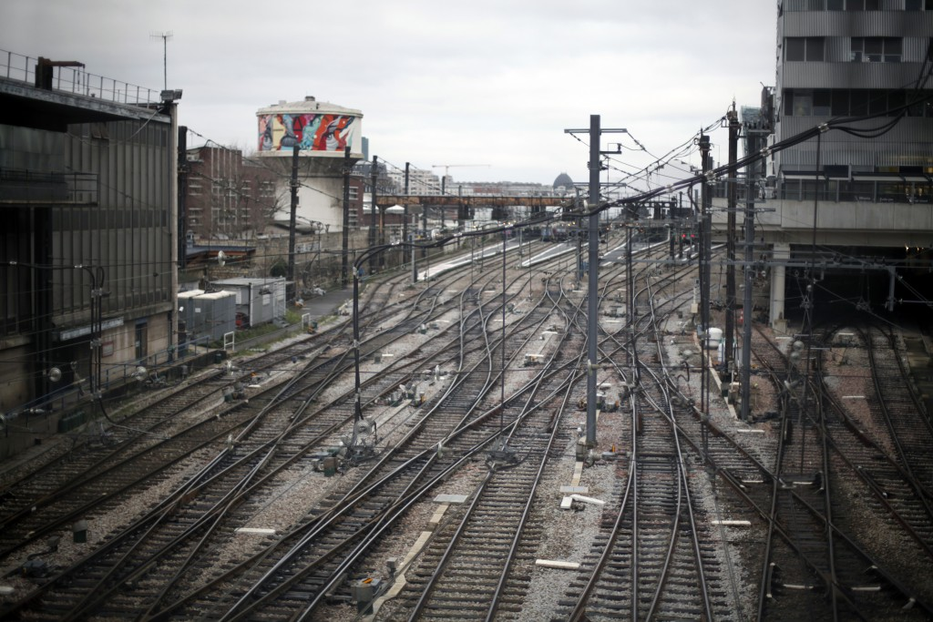 Empties railway tracks at the Gare d'Austerlitz railway station, in Paris, Friday, Dec. 27, 2019. France's punishing transportation troubles may ease ...