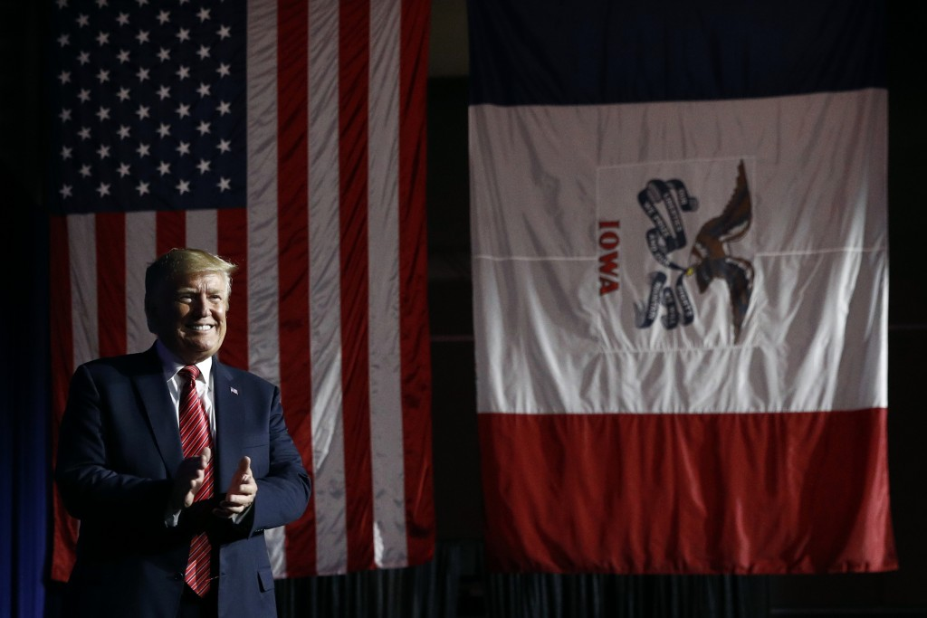 In this June 11, 2019, photo, President Donald Trump arrives to speak at the Republican Party of Iowa's annual dinner in West Des Moines, Iowa, Tuesda...