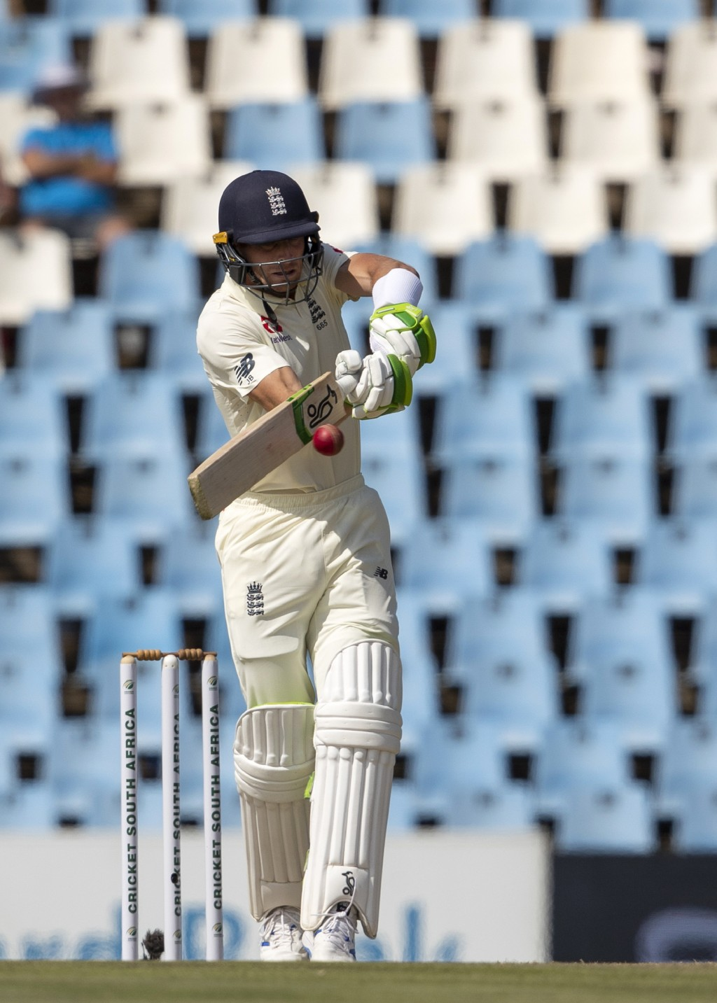 England's batsman Jos Buttler plays a shot on day two of the first cricket test match between South Africa and England at Centurion Park, Pretoria, So...