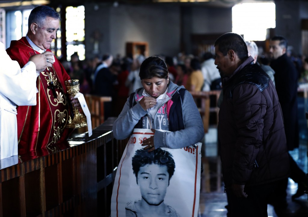 The Bishop of Chilpancingo, Guerrero state, Salvador Rengel, receives the family members of 43 missing students from the Isidro Burgos rural teachers ...