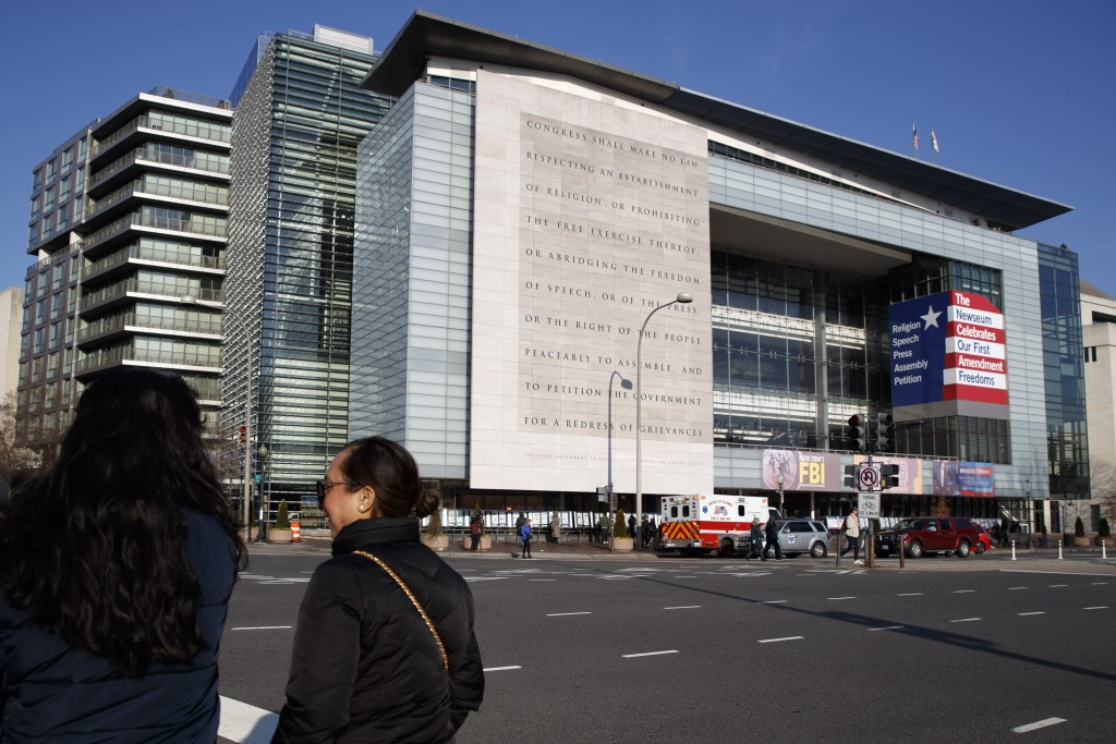 In this Friday, Dec. 20, 2019, photo, the Newseum is seen in Washington. The Newseum will close the Pennsylvania Avenue location on Dec. 31, 2019. It ...