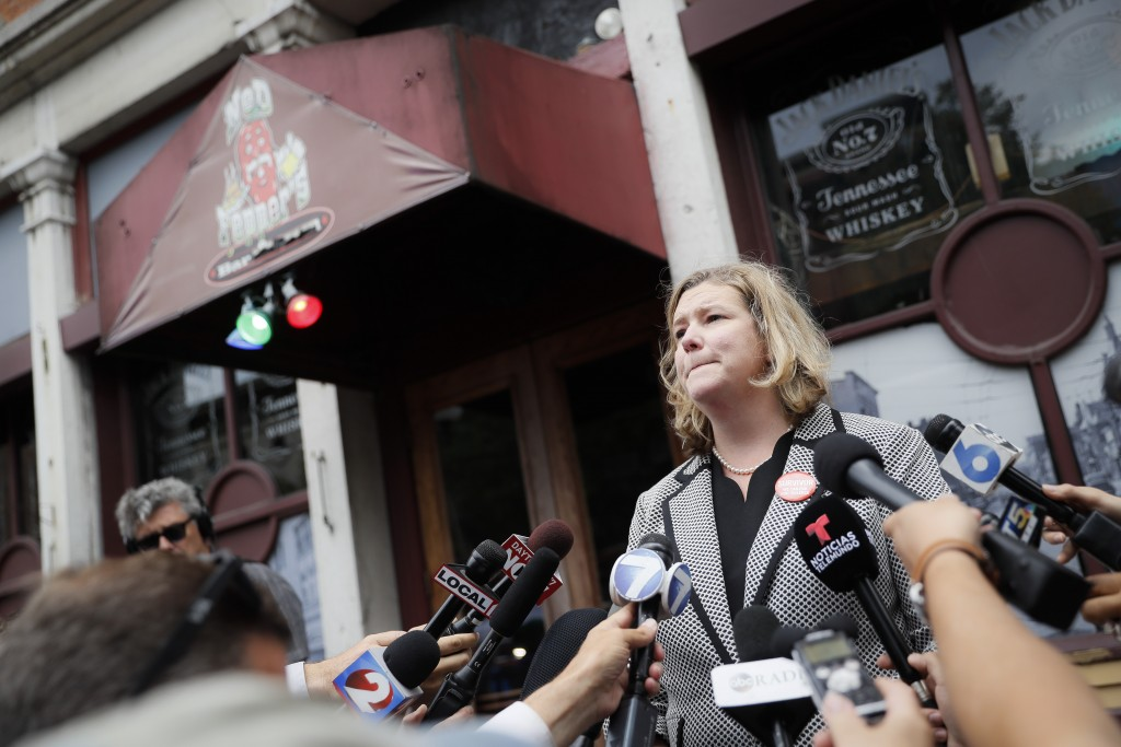 FILE - In this Aug. 6, 2019 file photo, Dayton, Ohio, Mayor Nan Whaley speaks to members of the media outside Ned Peppers bar in the Oregon District a...